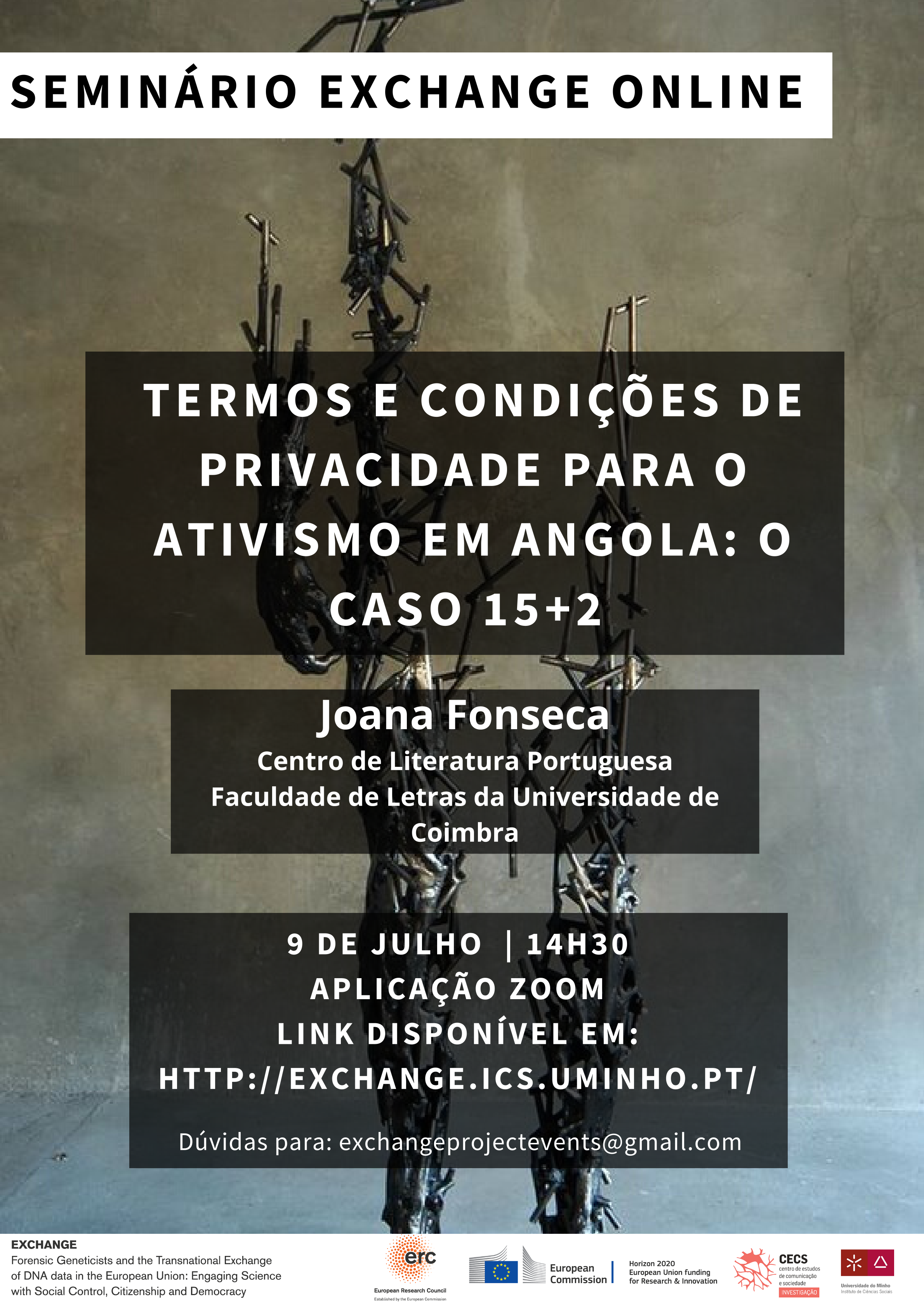 """Exchange seminar: """"Privacy terms and conditions for activism in Angola: the 15+2 case"""""""