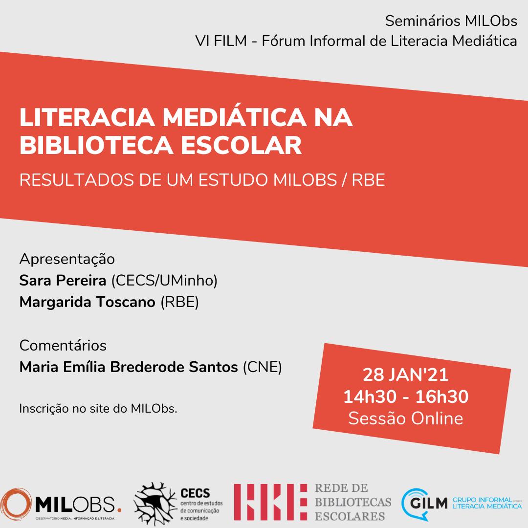 """Seminário MILObs sobre """"Literacia Mediática na Biblioteca Escolar"""""""