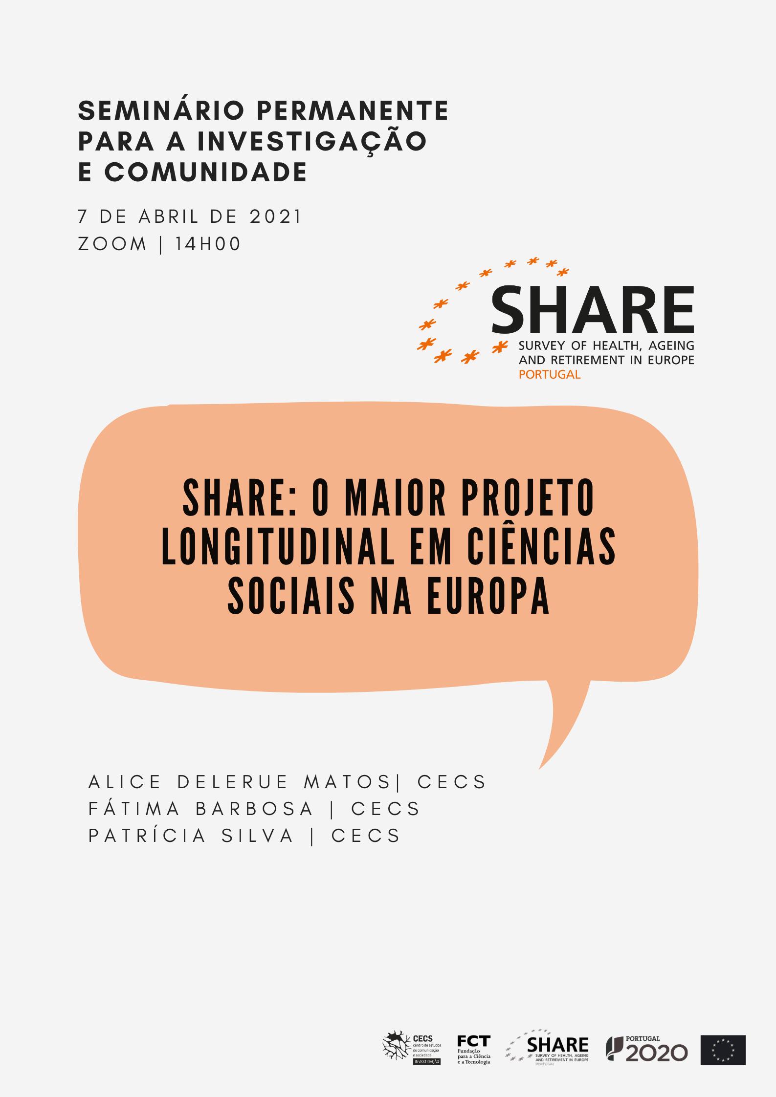 """Reveja seminário """"SHARE: o maior projeto longitudinal em Ciências Sociais da Europa"""""""