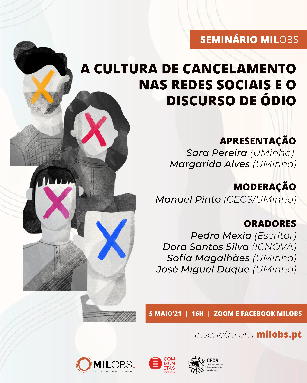 """Seminário """"A cultura de cancelamento nas redes sociais e o discurso de ódio"""""""