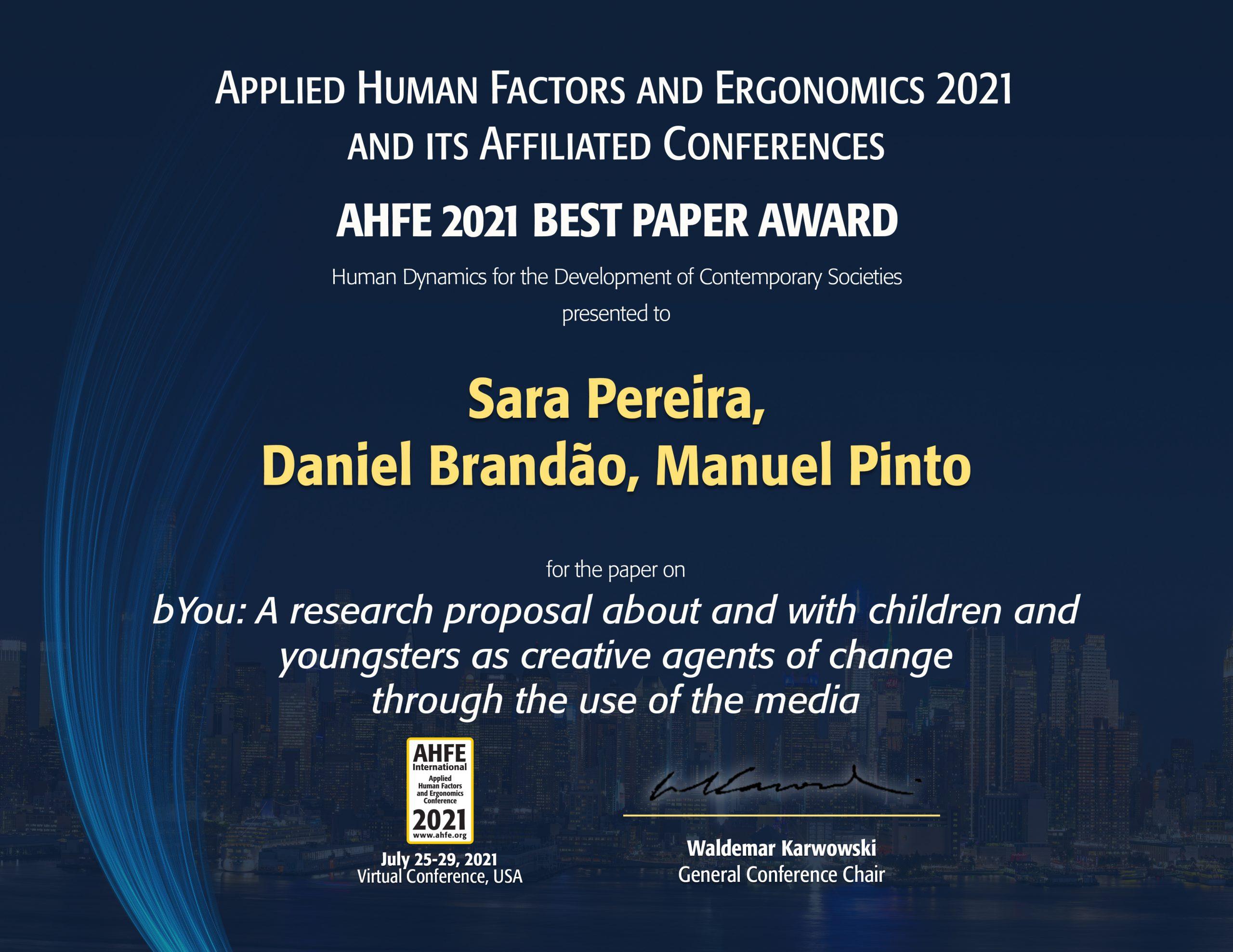 Investigadores do CECS ganham AHFE 2021 Best Paper Award